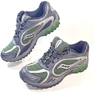 Saucony boys shoes Youth Athletic Sneakers Canyon Green Black Silver Running